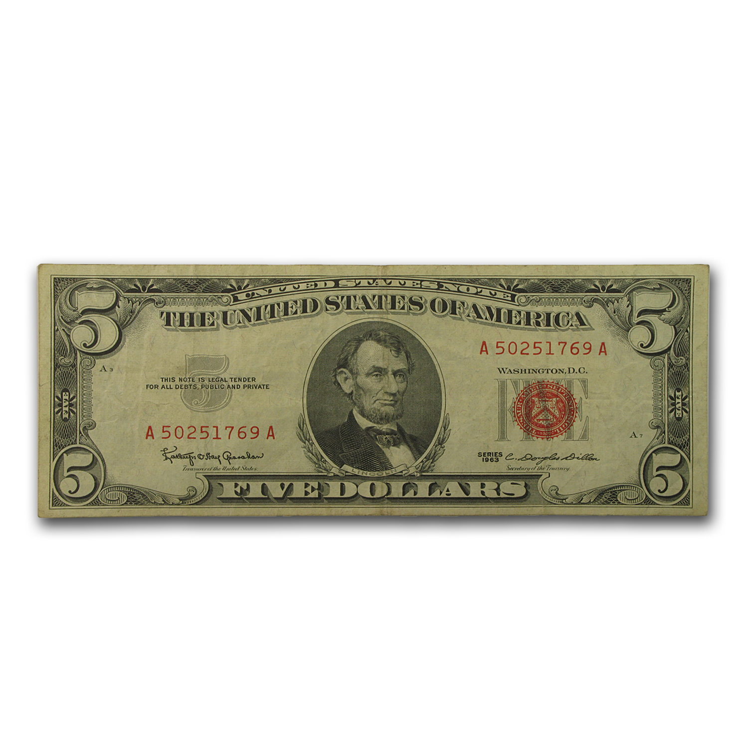 1963 $5.00 U.S. Note Red Seal VG/VF